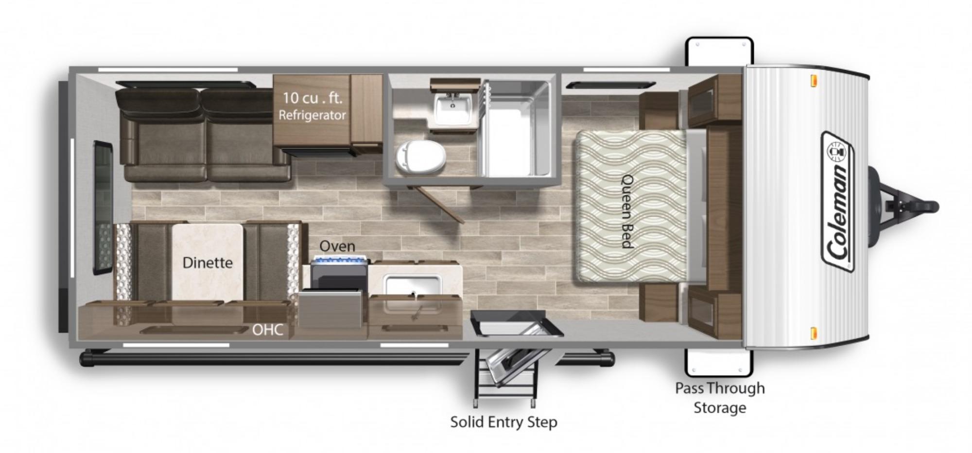 View Floor Plan for 2022 COLEMAN COLEMAN LANTERN LT 202RD