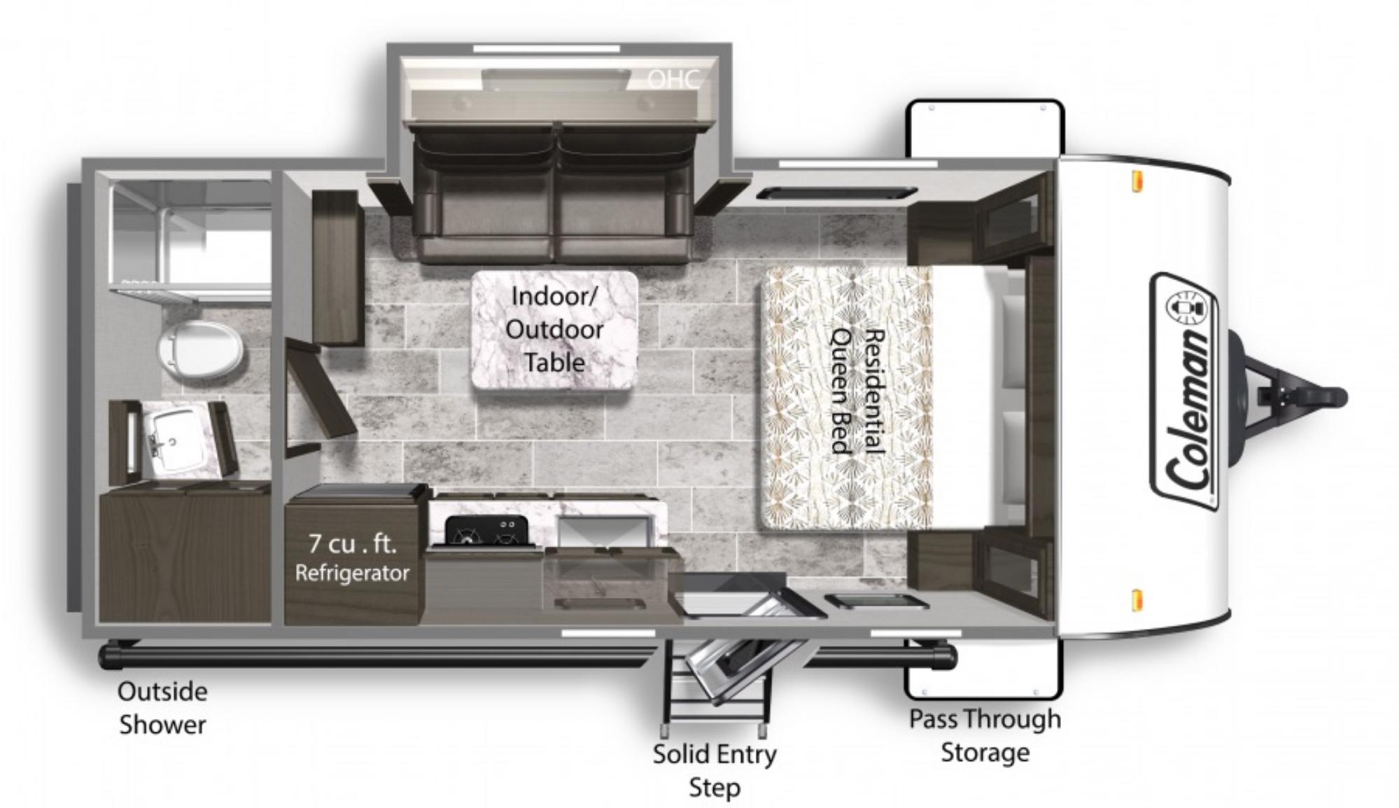 View Floor Plan for 2022 COLEMAN COLEMAN LIGHT 1805RB