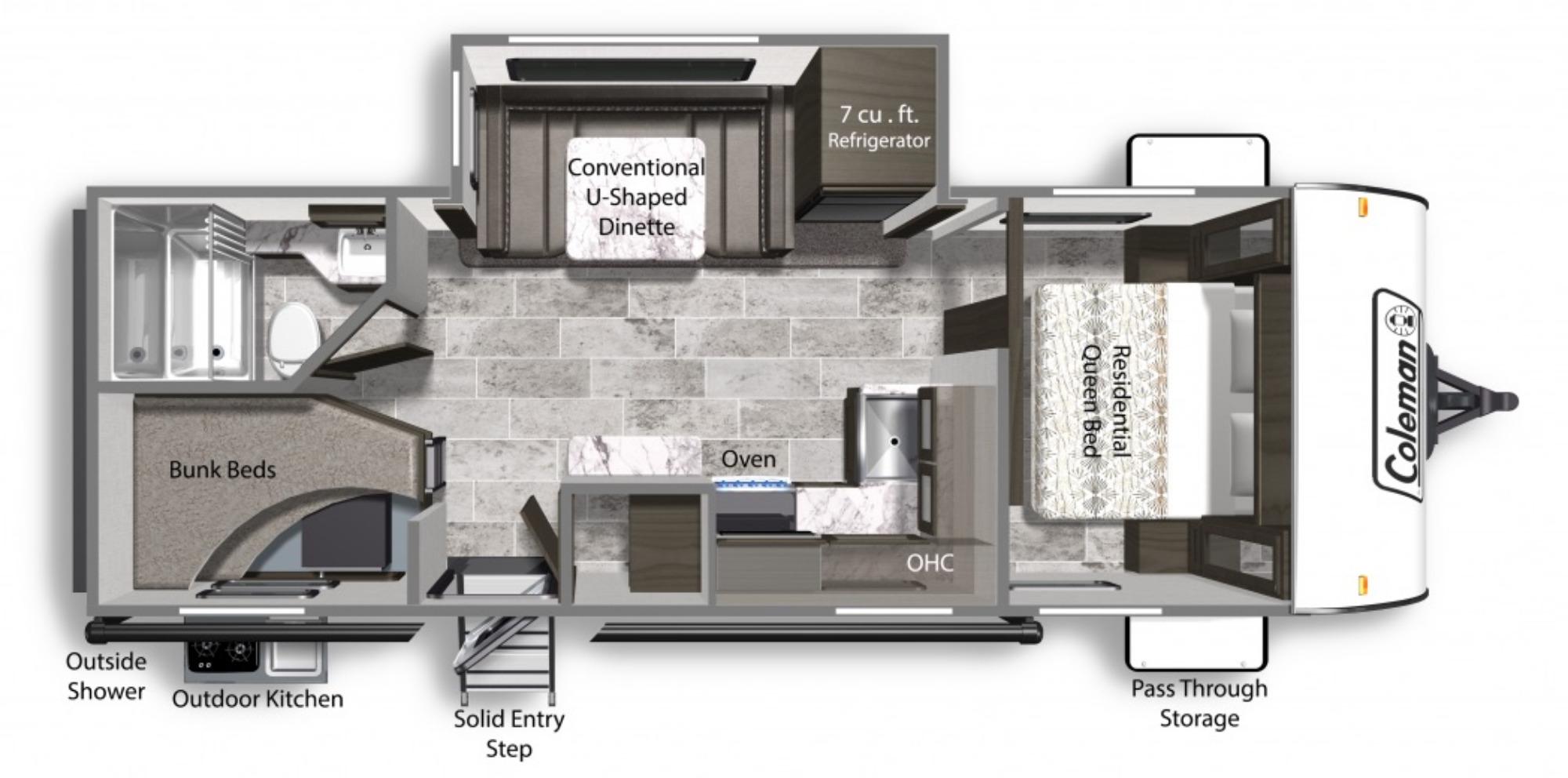 View Floor Plan for 2022 COLEMAN COLEMAN LIGHT 2455BH