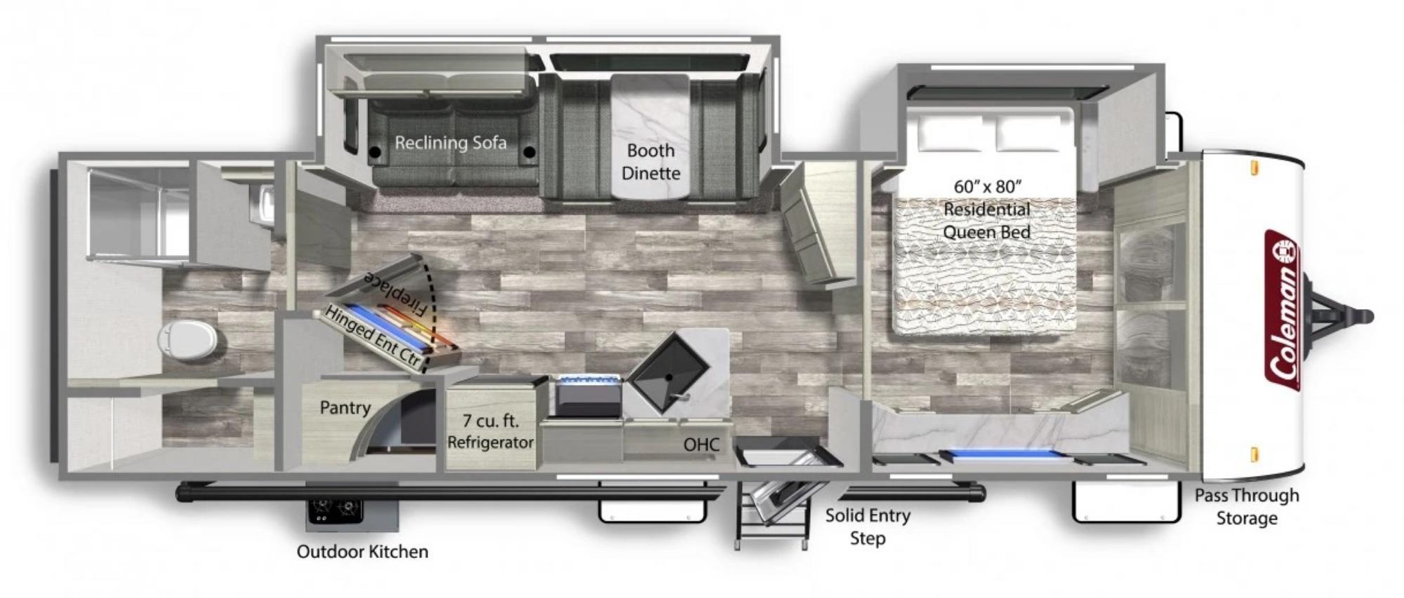 View Floor Plan for 2022 COLEMAN COLEMAN LIGHT 3055BS