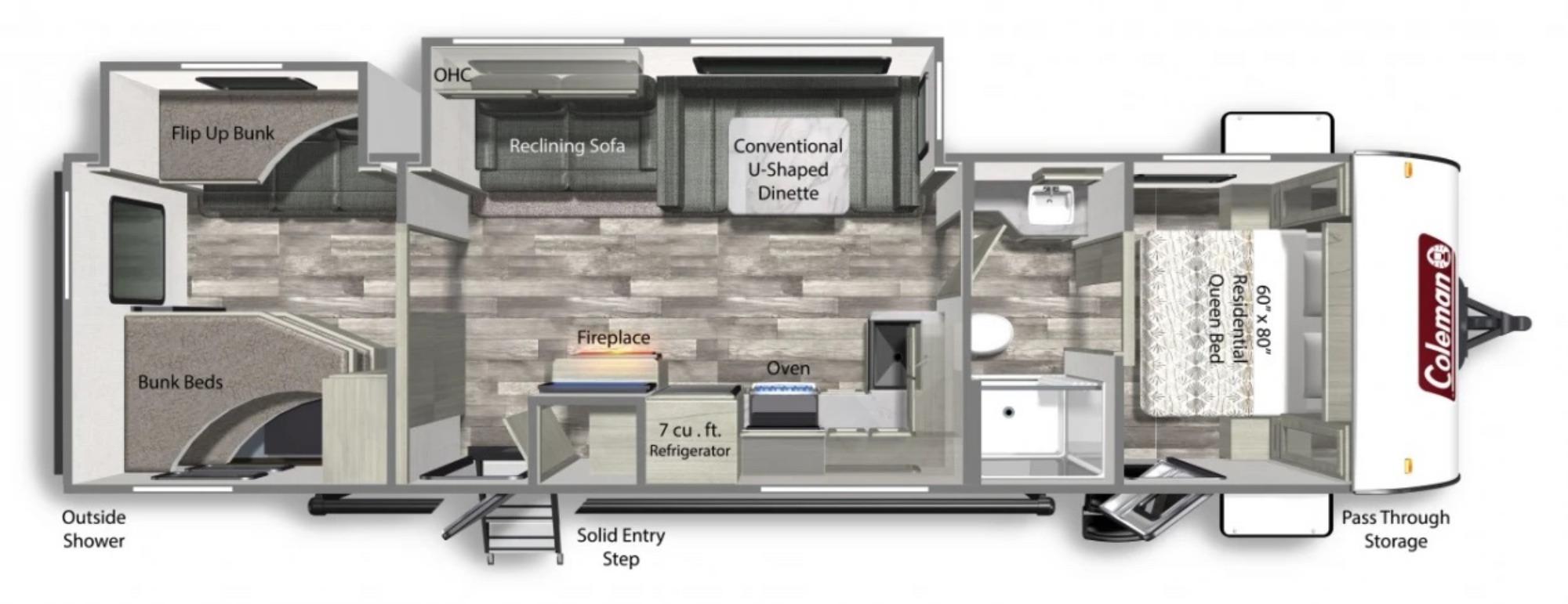 View Floor Plan for 2022 COLEMAN COLEMAN LIGHT 3215BH