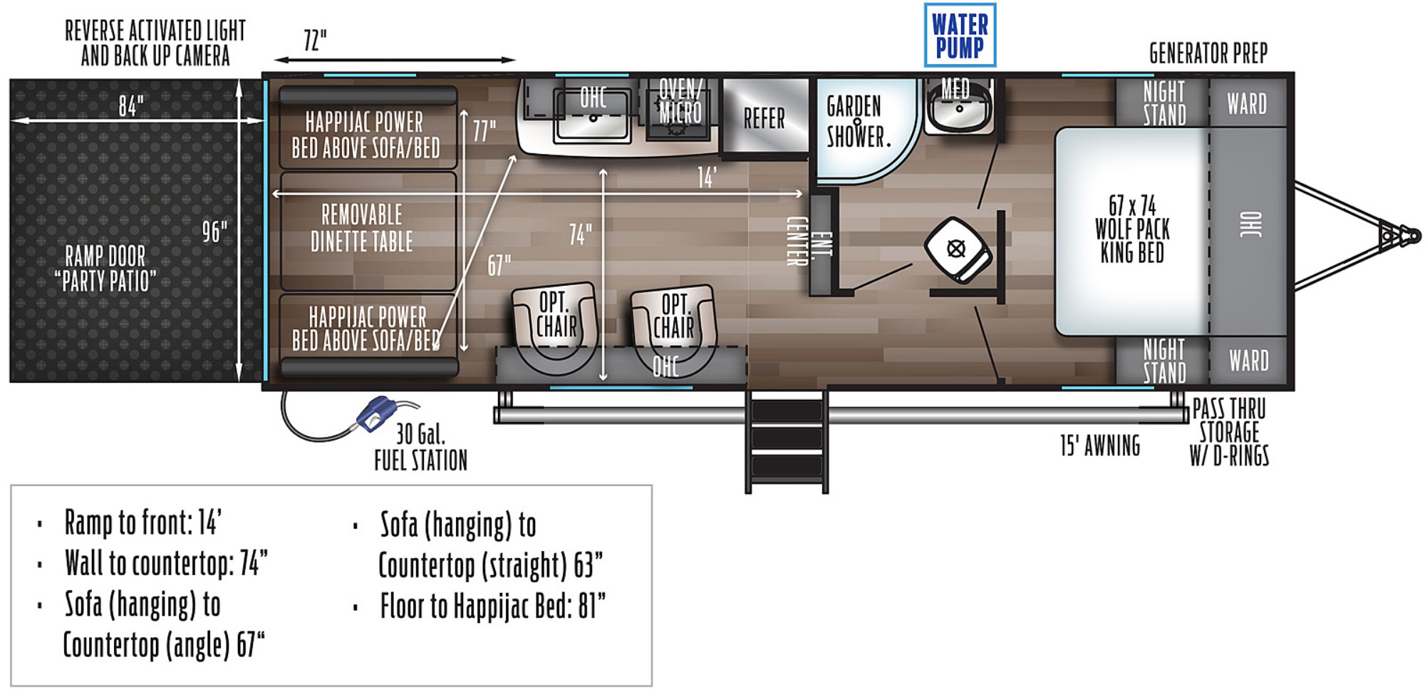 View Floor Plan for 2022 FOREST RIVER WOLF PACK 24PACK14