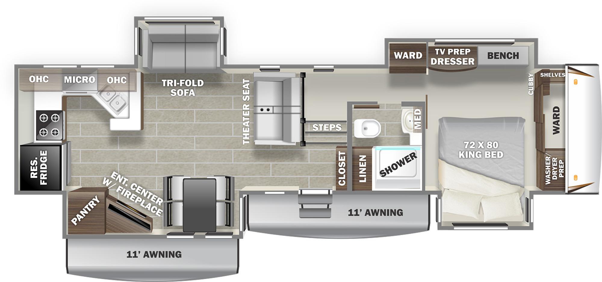 View Floor Plan for 2022 PRIME TIME SANIBEL 3702WB