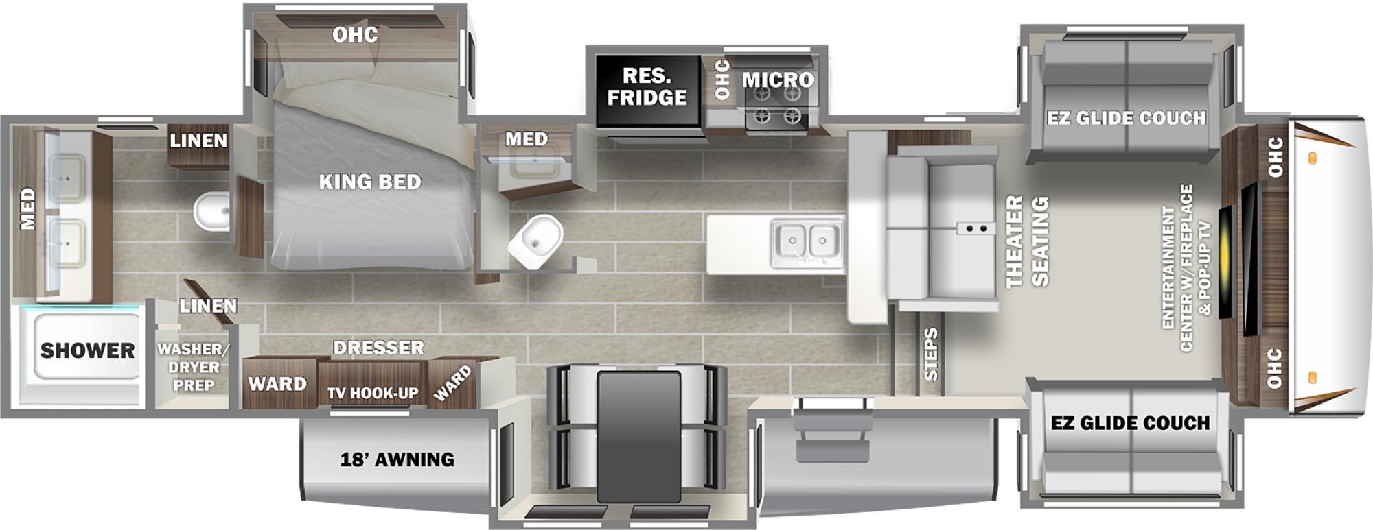 View Floor Plan for 2022 PRIME TIME SANIBEL 3802WB