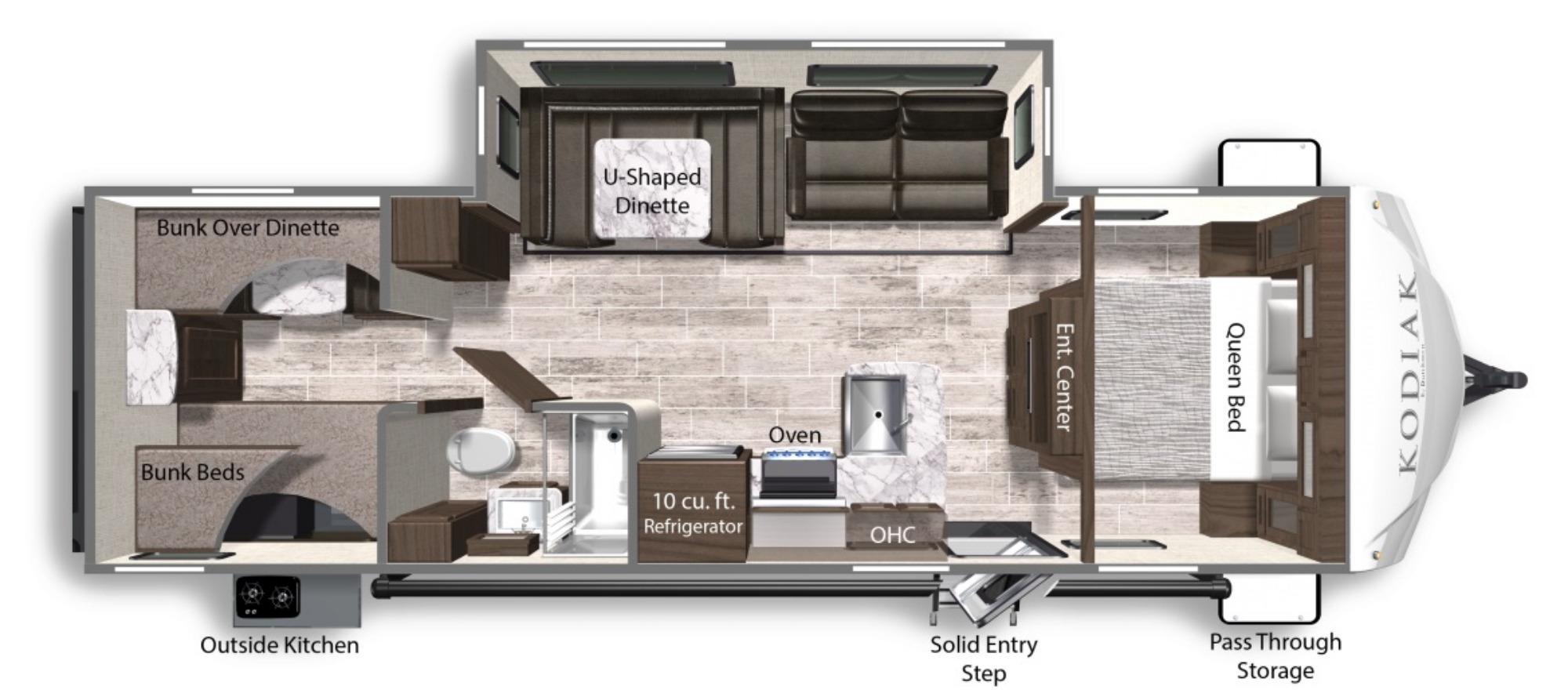 View Floor Plan for 2022 DUTCHMEN KODIAK 283BHSL