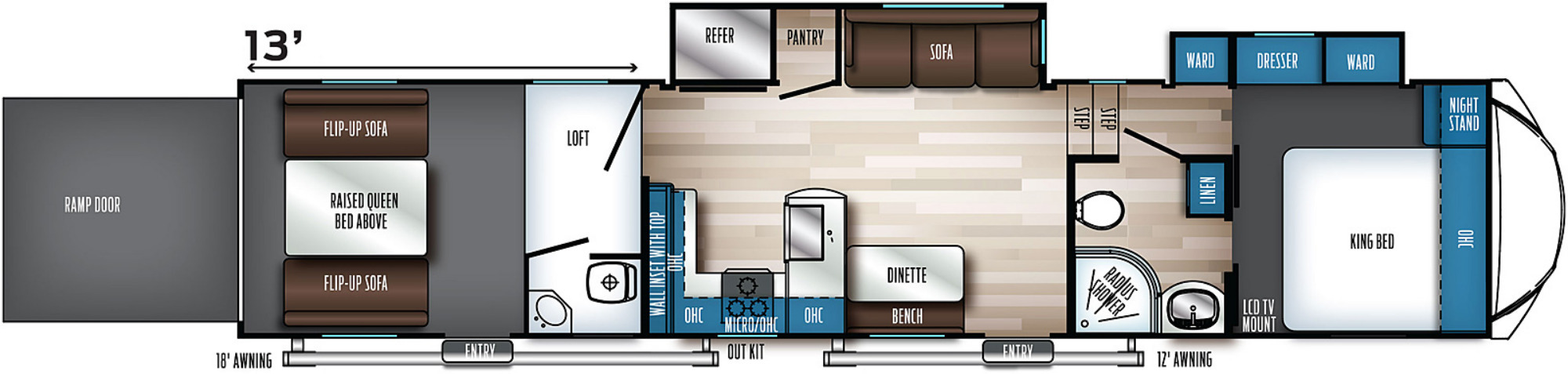 View Floor Plan for 2022 FOREST RIVER ROGUE ARMORED 371A13