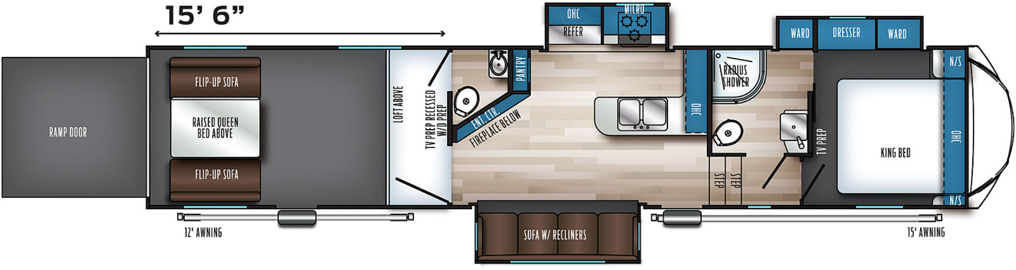 View Floor Plan for 2022 FOREST RIVER ROGUE ARMORED 383G2