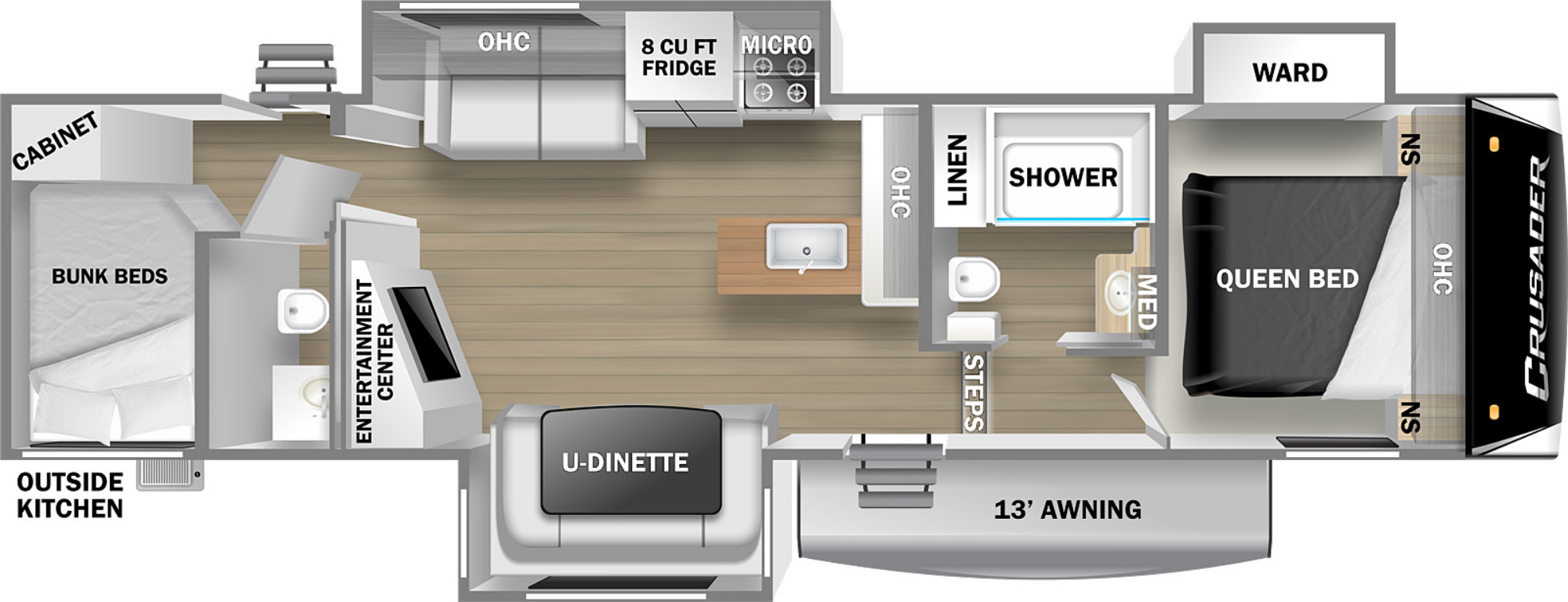 View Floor Plan for 2022 PRIME TIME CRUSADER LITE 33BH