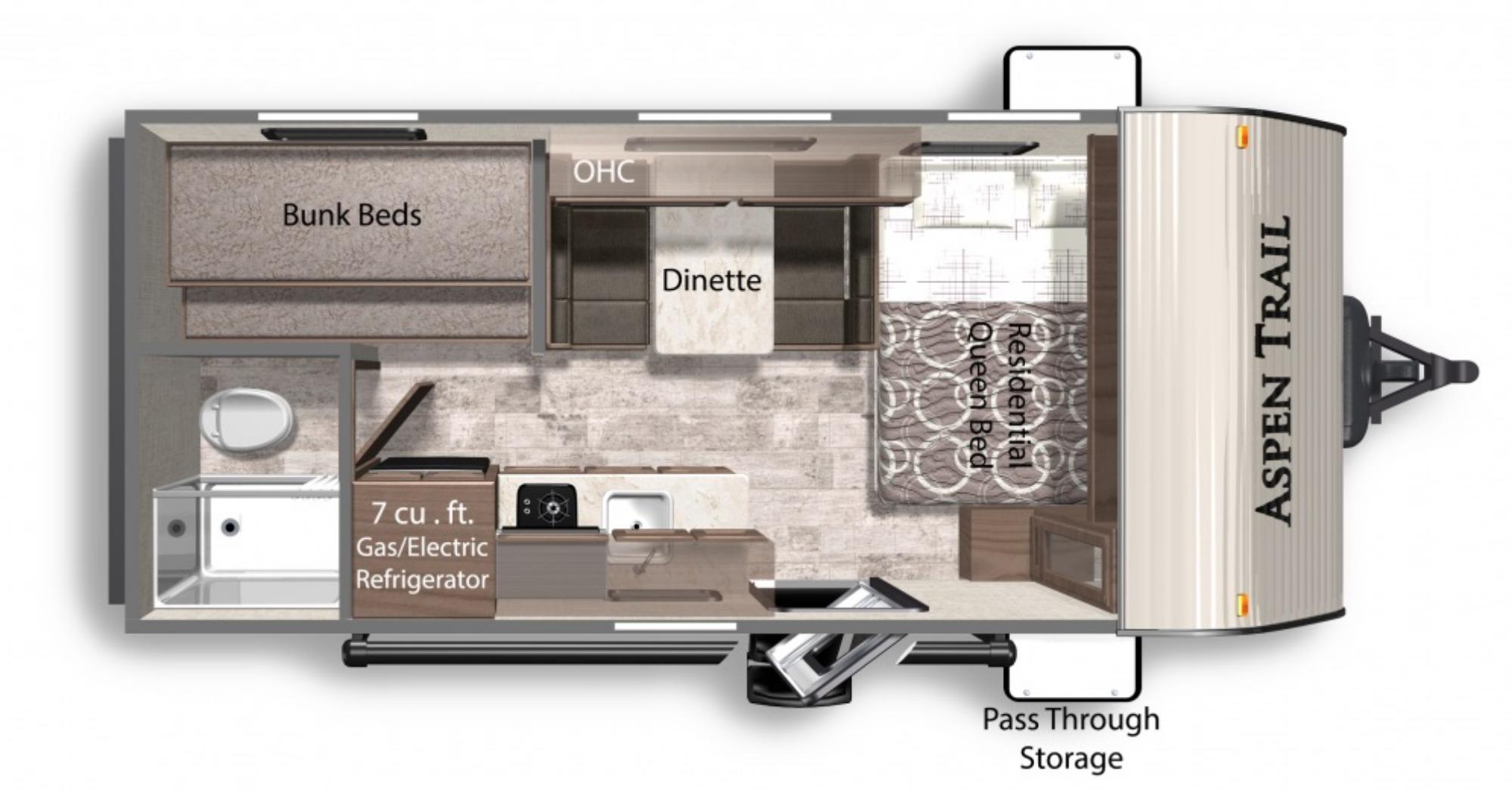 View Floor Plan for 2022 DUTCHMEN ASPEN TRAIL LE 17BH