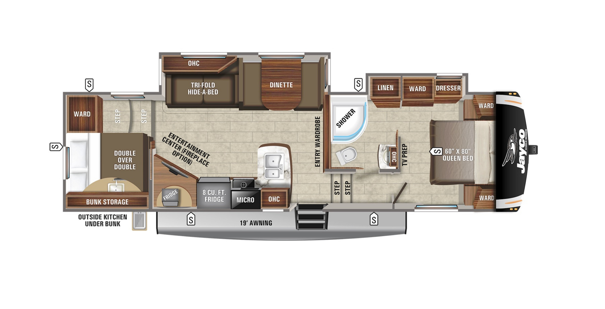 View Floor Plan for 2022 JAYCO EAGLE HT 29.5BHDS