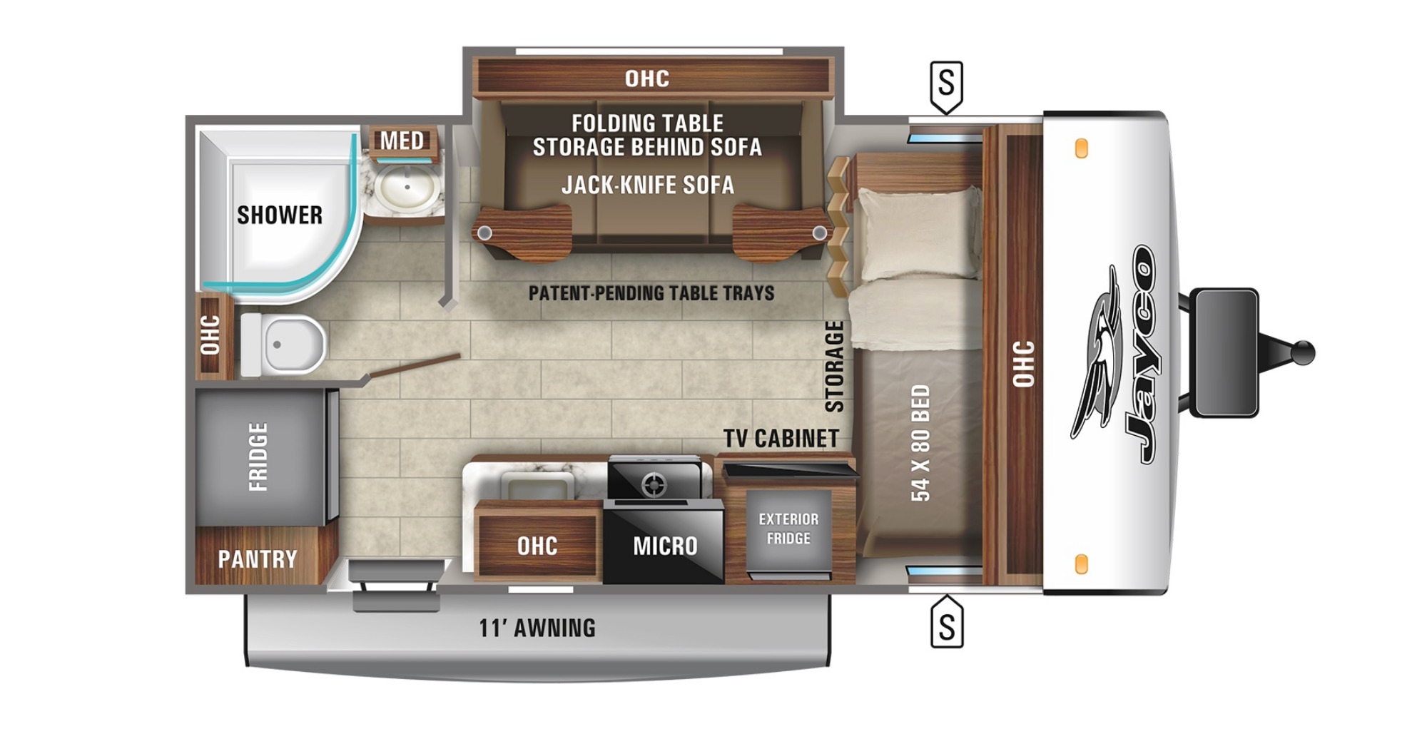 View Floor Plan for 2022 JAYCO JAY FEATHER MICRO 166FBS