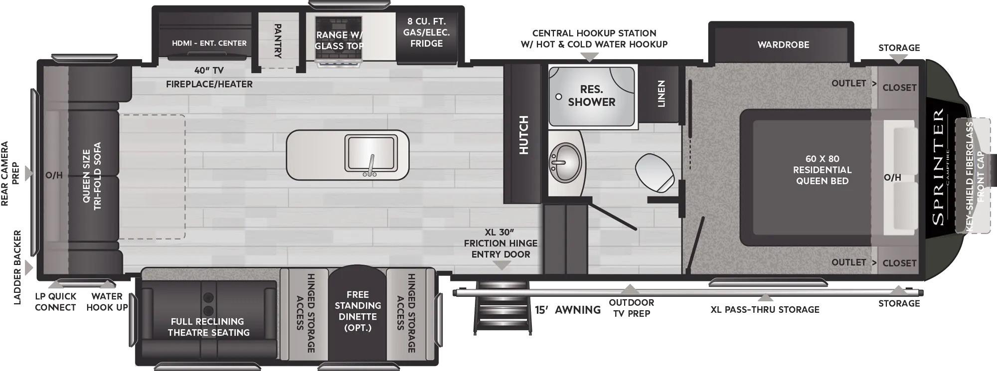 View Floor Plan for 2022 KEYSTONE SPRINTER 30RL