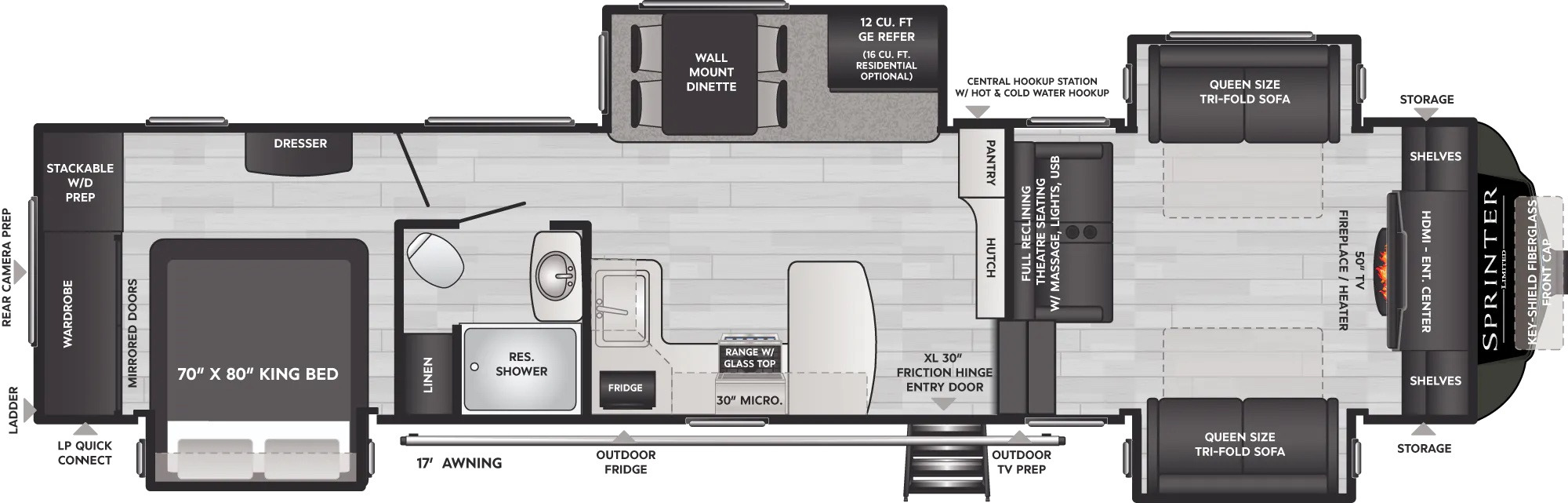 View Floor Plan for 2022 KEYSTONE SPRINTER LIMITED 3670FLS