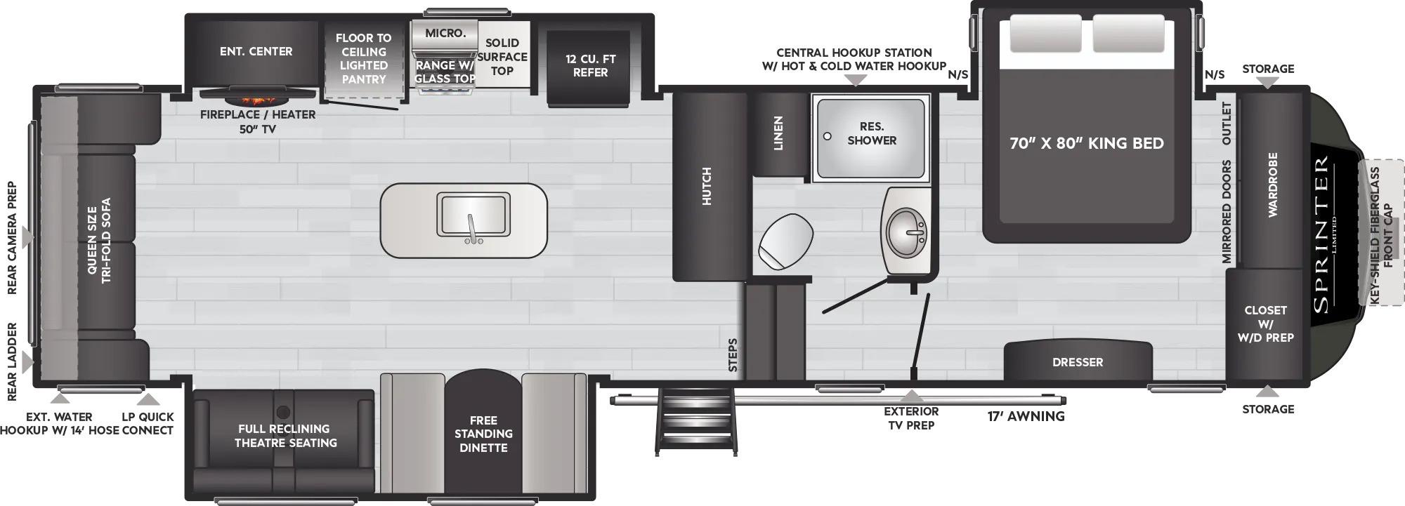 View Floor Plan for 2022 KEYSTONE SPRINTER LIMITED 3190RLS