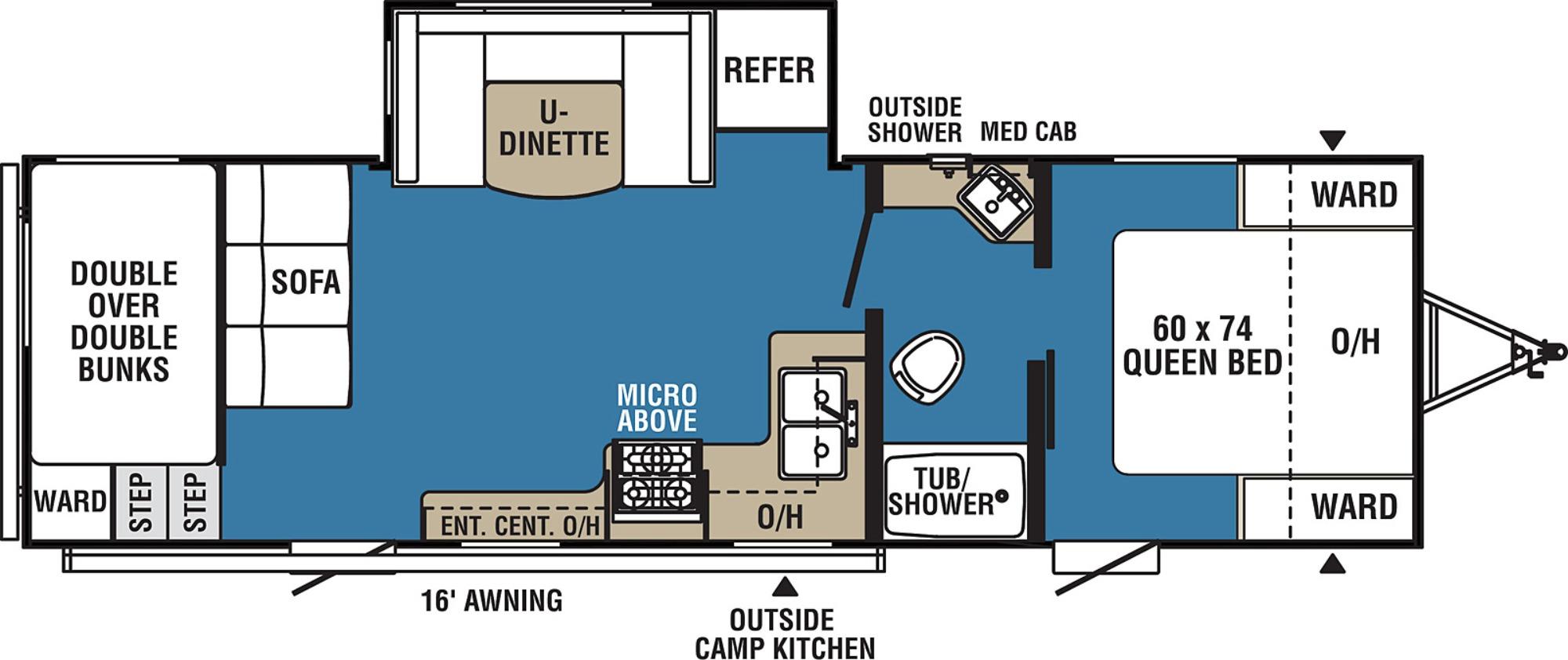 View Floor Plan for 2021 COACHMEN VIKING ULTRA-LITE 262BHS