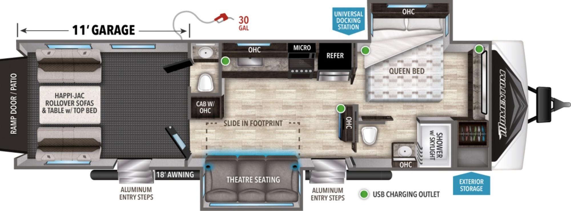 View Floor Plan for 2021 GRAND DESIGN MOMENTUM G CLASS 29G