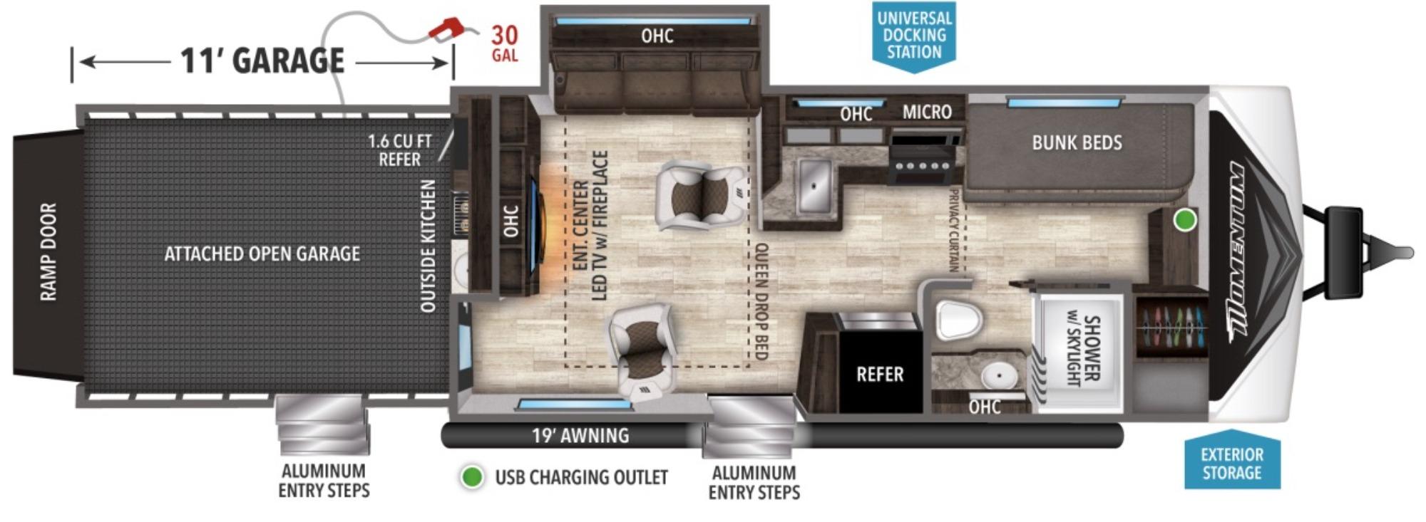 View Floor Plan for 2021 GRAND DESIGN MOMENTUM G CLASS 29GO