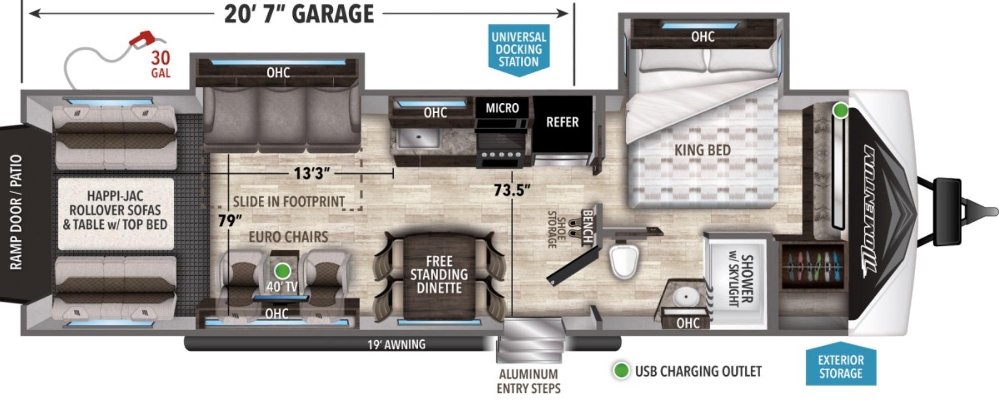 View Floor Plan for 2021 GRAND DESIGN MOMENTUM G CLASS 30G