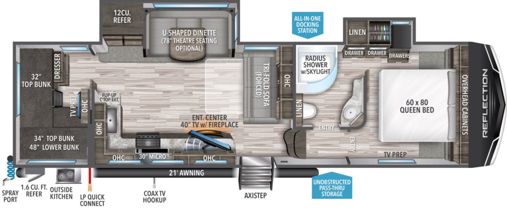 View Floor Plan for 2021 GRAND DESIGN REFLECTION 28BH