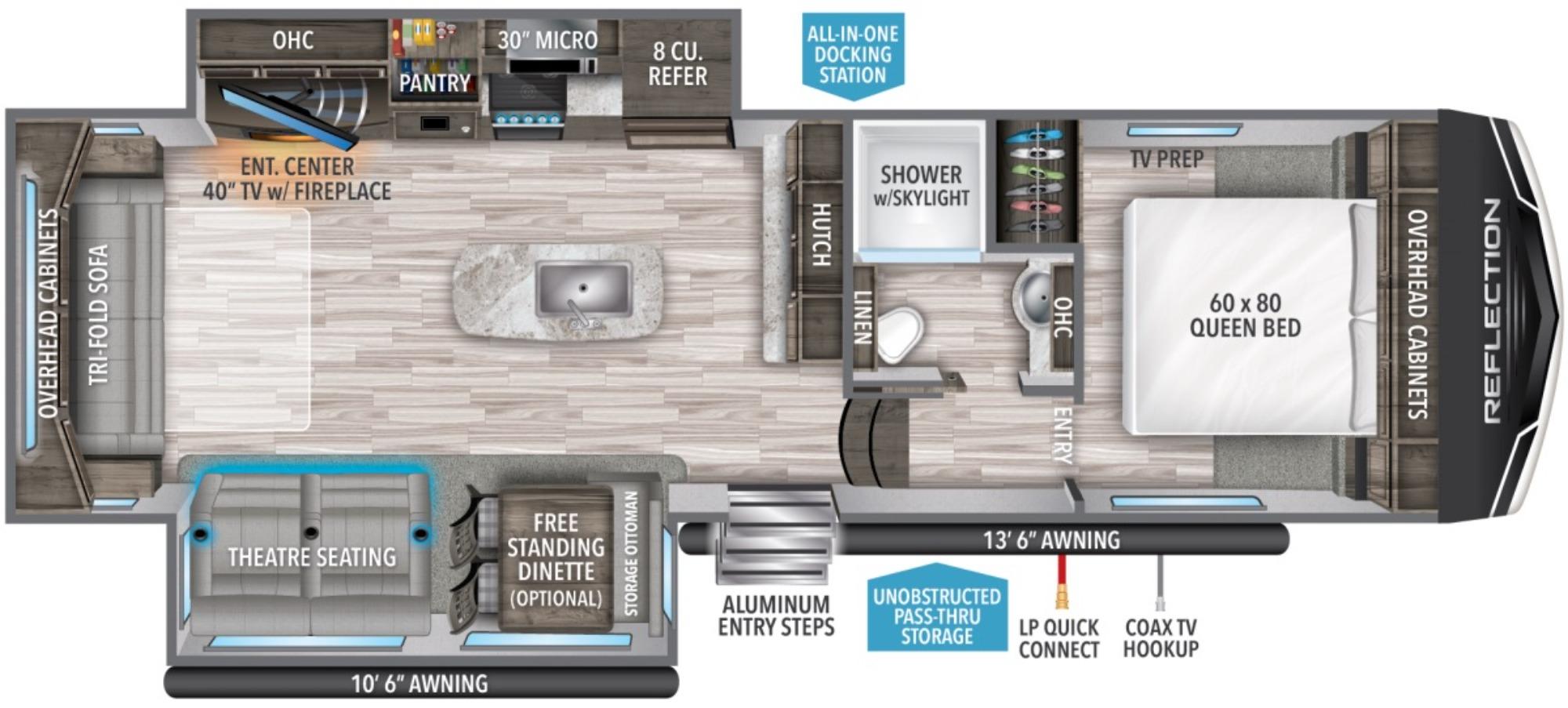 View Floor Plan for 2021 GRAND DESIGN REFLECTION 295RL