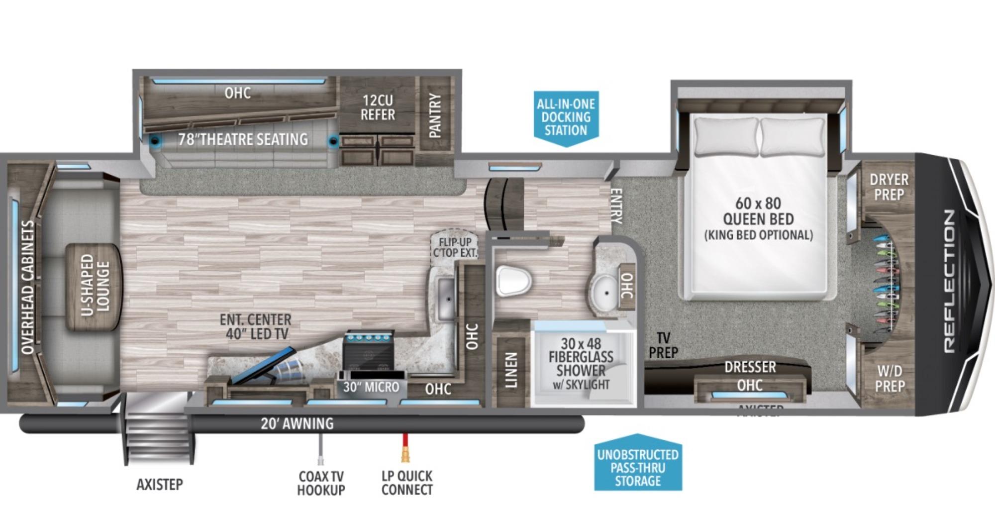 View Floor Plan for 2021 GRAND DESIGN REFLECTION 310RLS