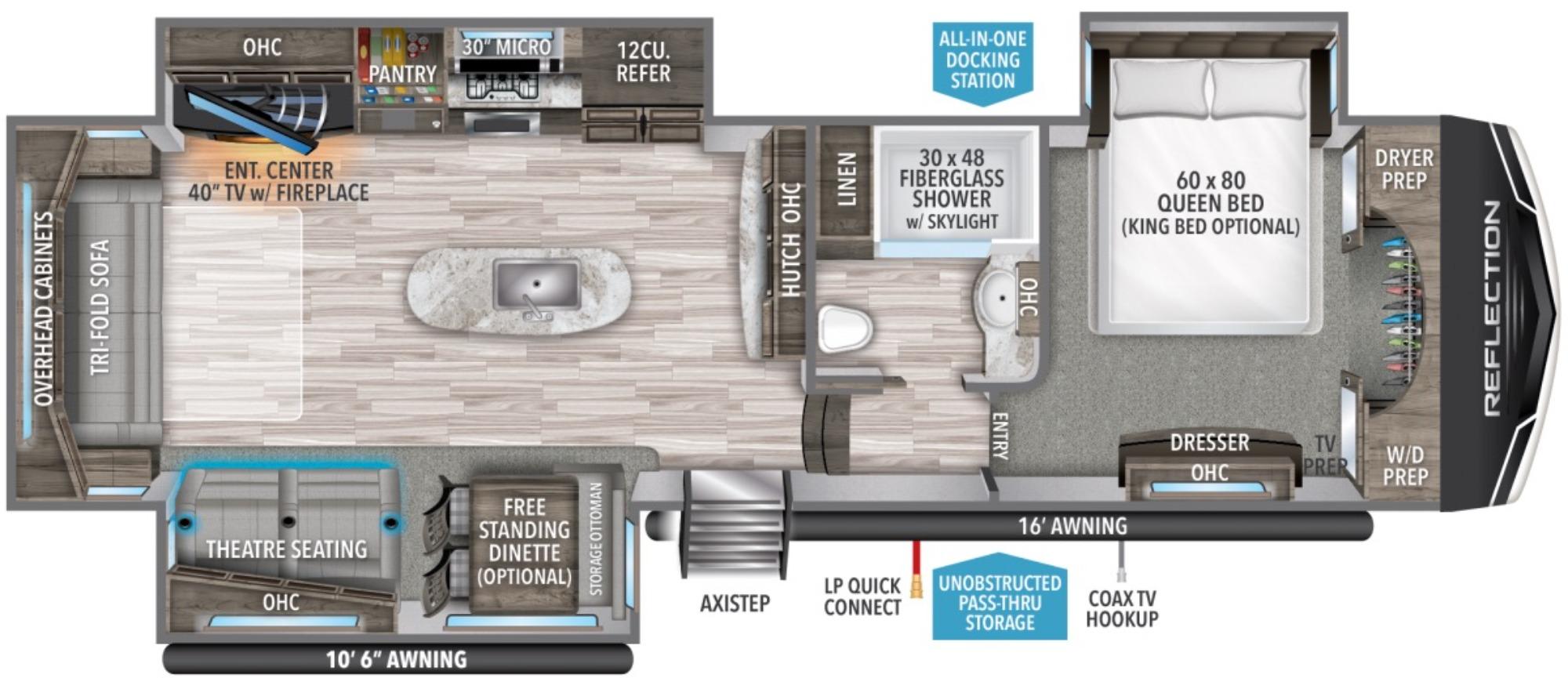 View Floor Plan for 2021 GRAND DESIGN REFLECTION 337RLS