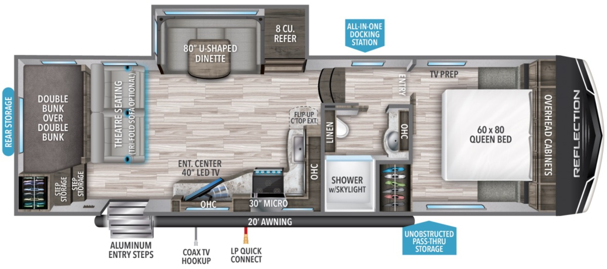 View Floor Plan for 2021 GRAND DESIGN REFLECTION 150 SERIES 268BH