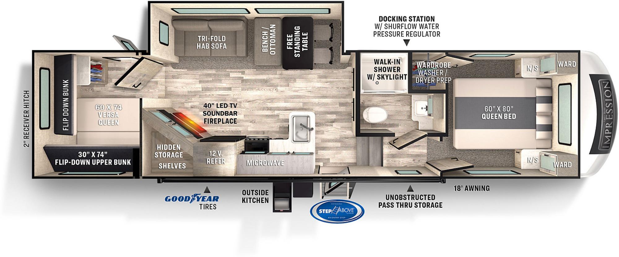 View Floor Plan for 2022 FOREST RIVER IMPRESSION 290VB