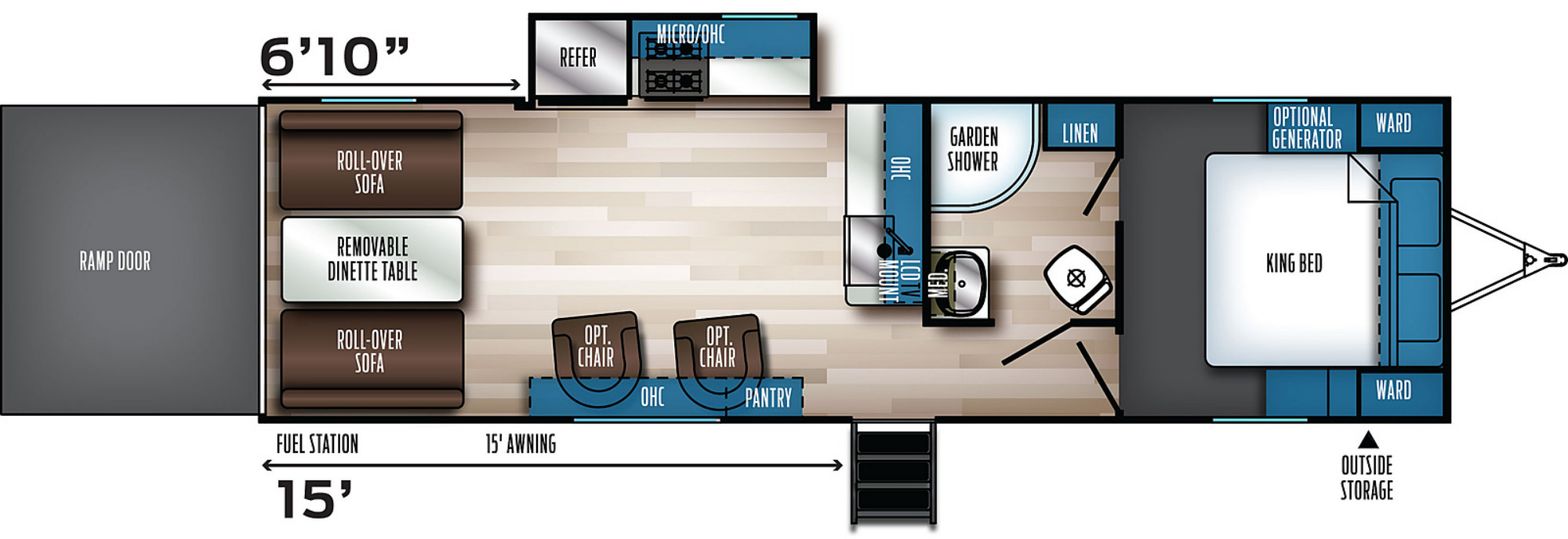 View Floor Plan for 2022 FOREST RIVER ROGUE 26VKS