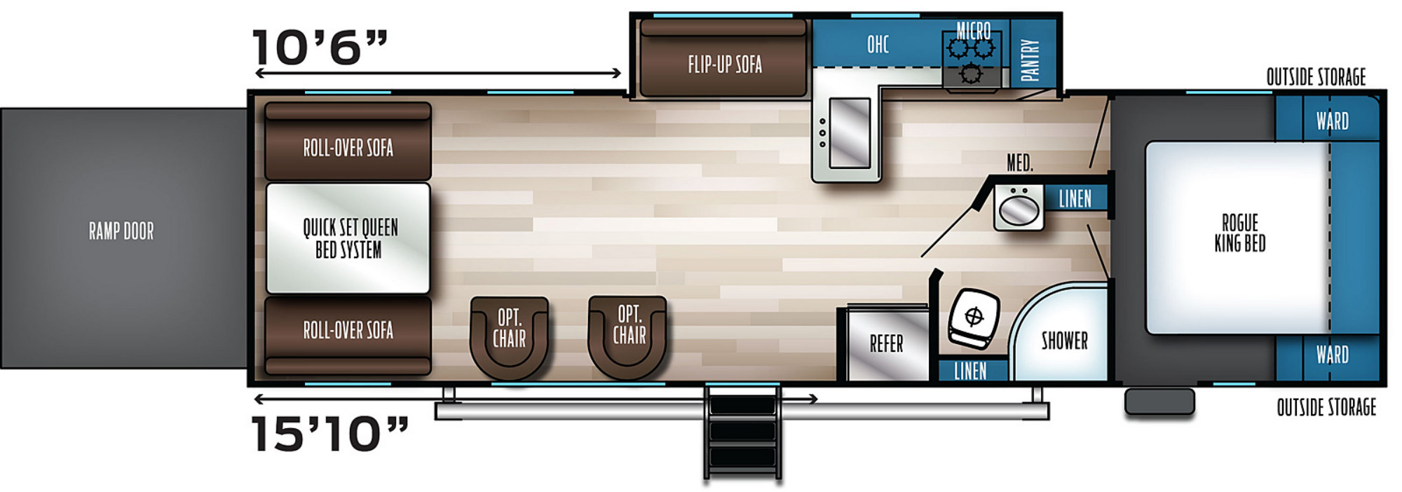 View Floor Plan for 2022 FOREST RIVER ROGUE 29KS