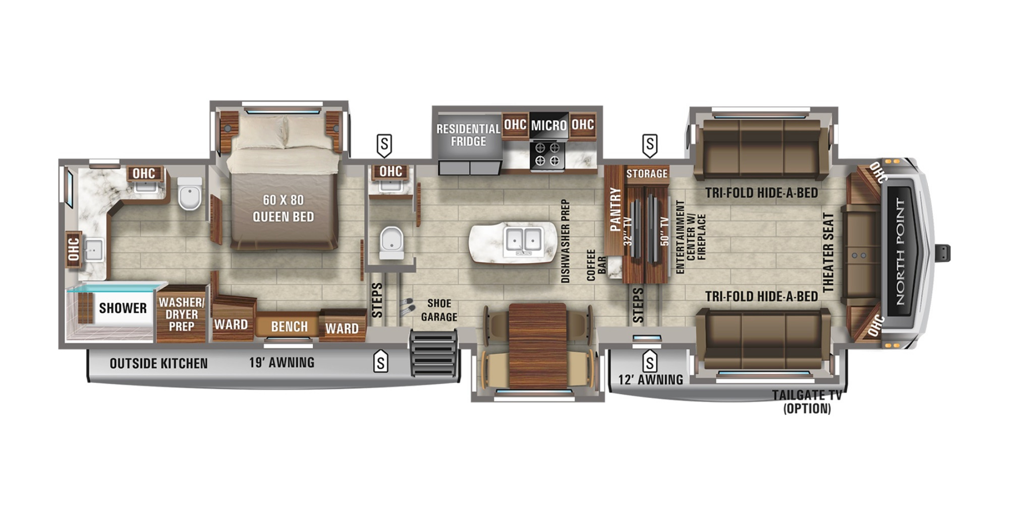 View Floor Plan for 2022 JAYCO NORTH POINT 382FLRB