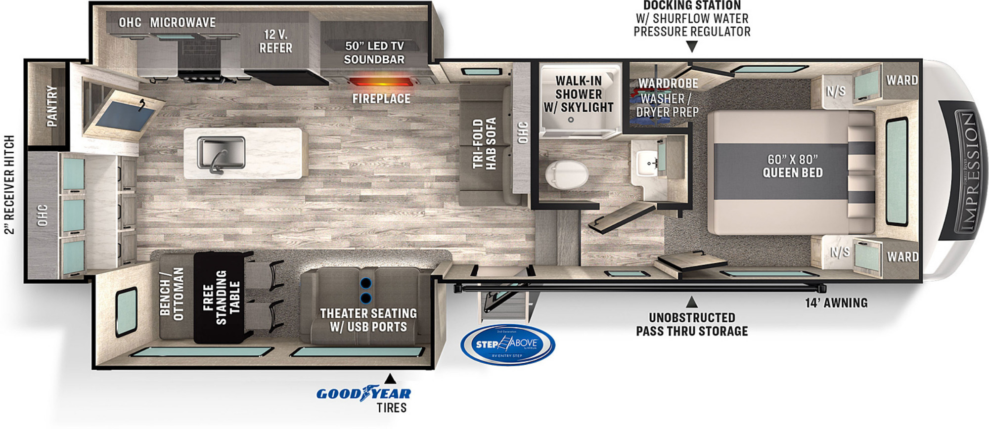 View Floor Plan for 2022 FOREST RIVER IMPRESSION 270RK