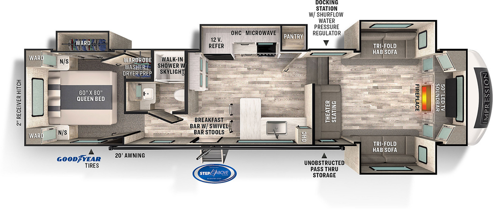 View Floor Plan for 2022 FOREST RIVER IMPRESSION 320FL