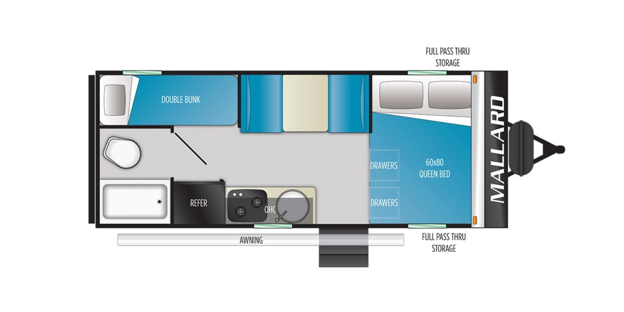 View Floor Plan for 2021 HEARTLAND MALLARD PATHFINDER P17QBH