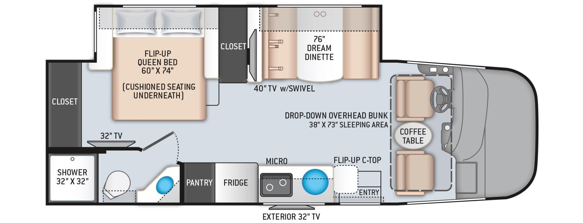 View Floor Plan for 2022 THOR VEGAS 25.6