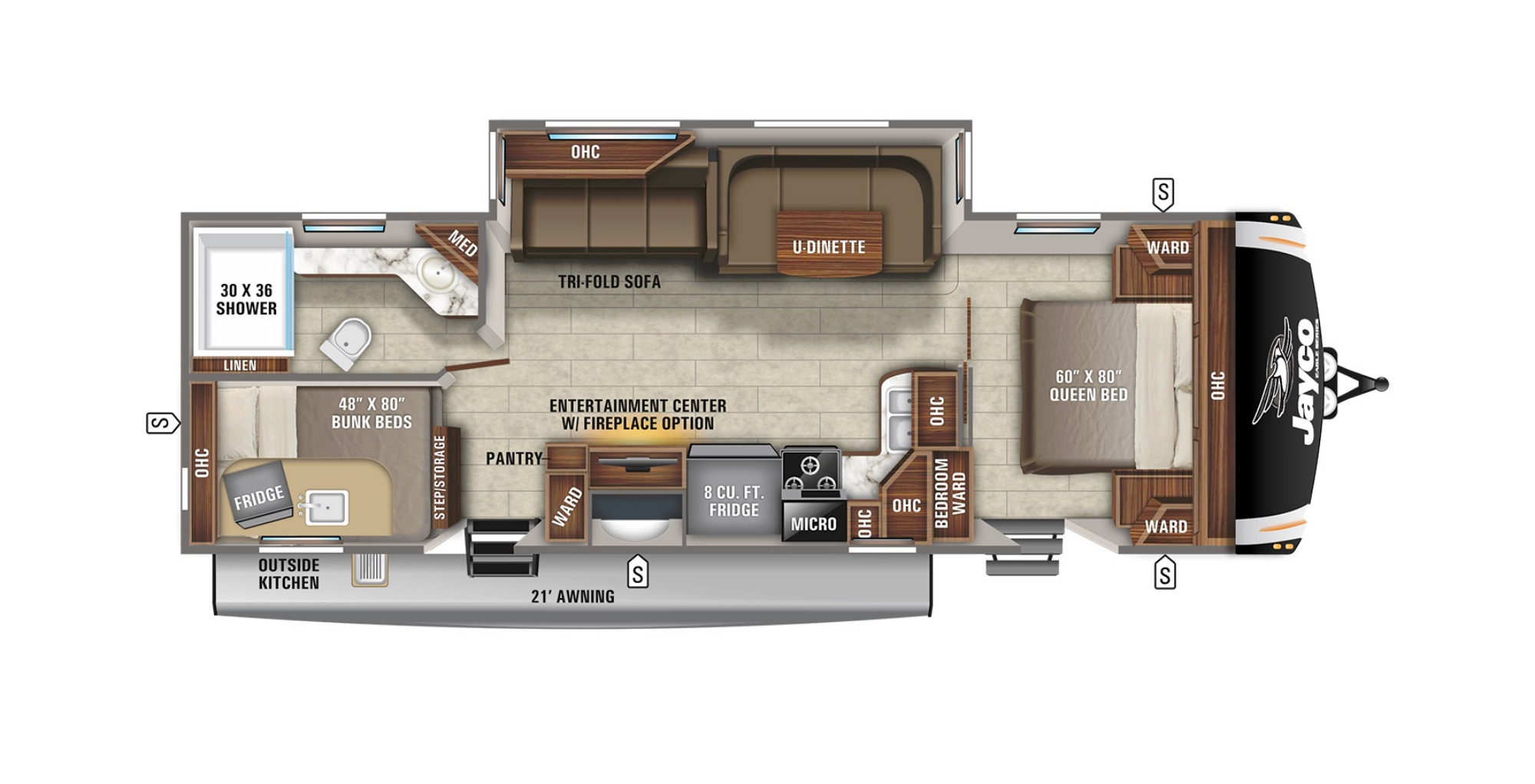 View Floor Plan for 2022 JAYCO EAGLE HT 284BHOK