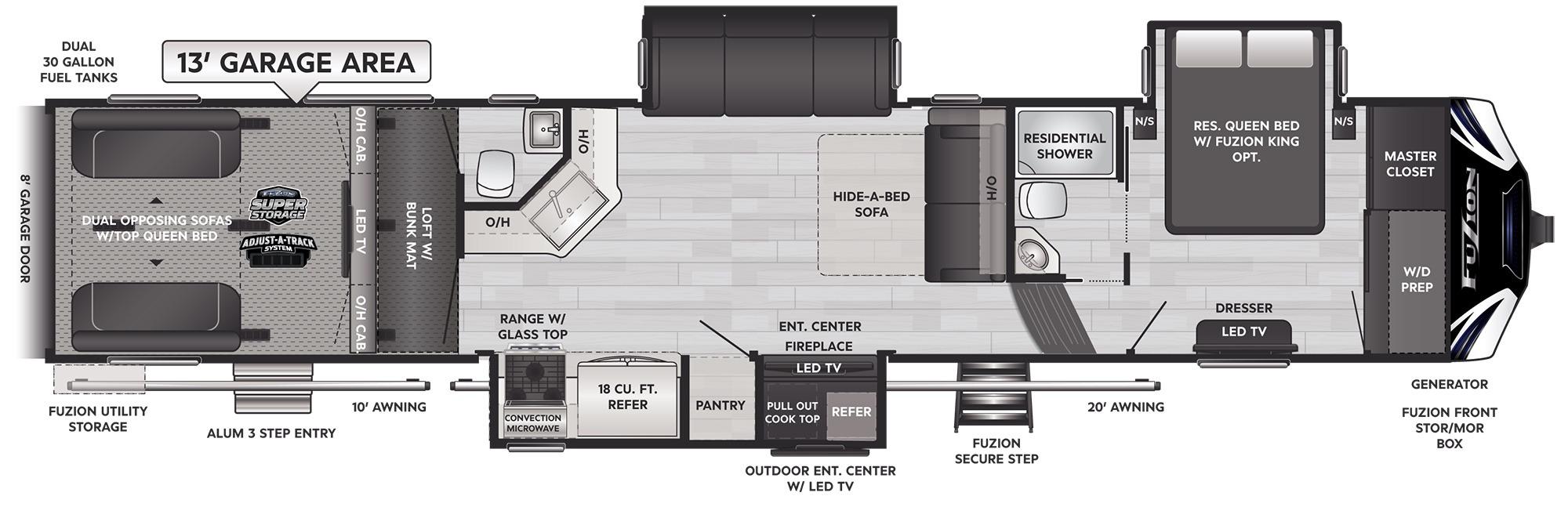 View Floor Plan for 2022 KEYSTONE FUZION 428