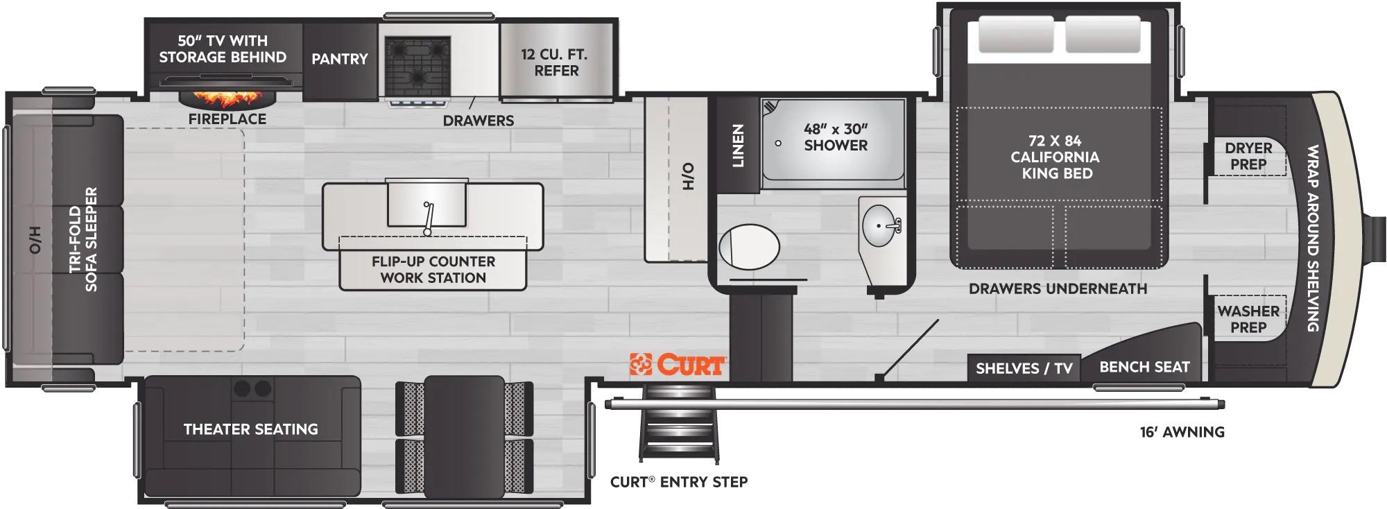 View Floor Plan for 2022 KEYSTONE ARCADIA 3660RL