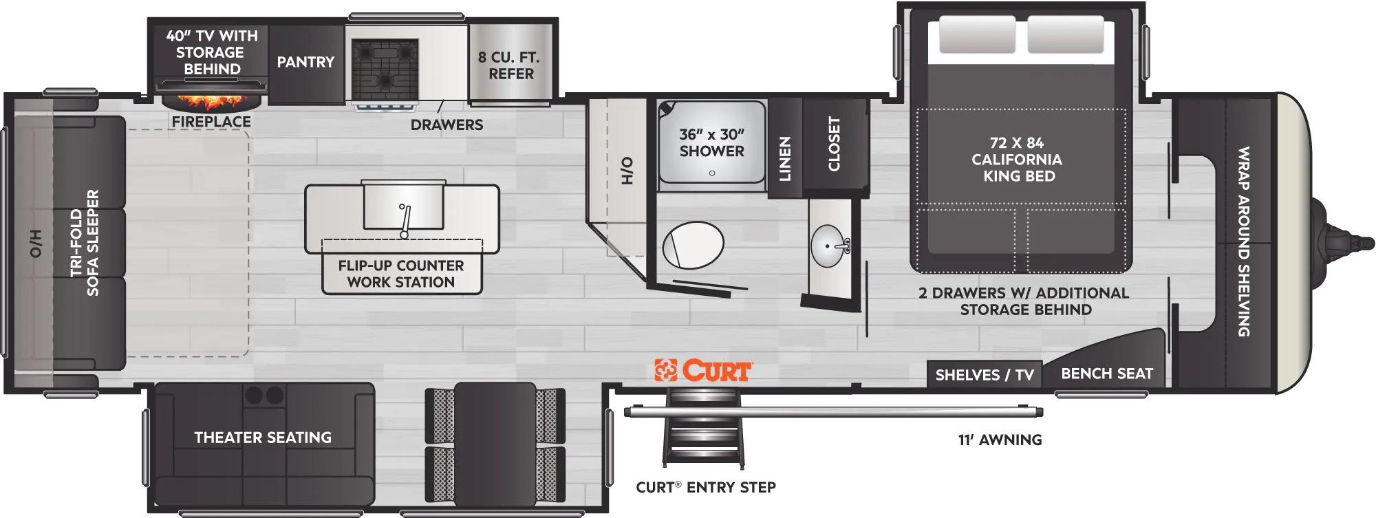 View Floor Plan for 2022 KEYSTONE ARCADIA 370RL