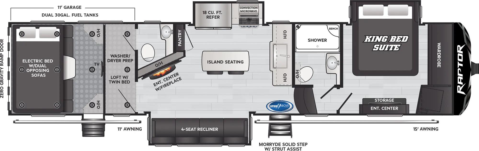 View Floor Plan for 2022 KEYSTONE RAPTOR 352