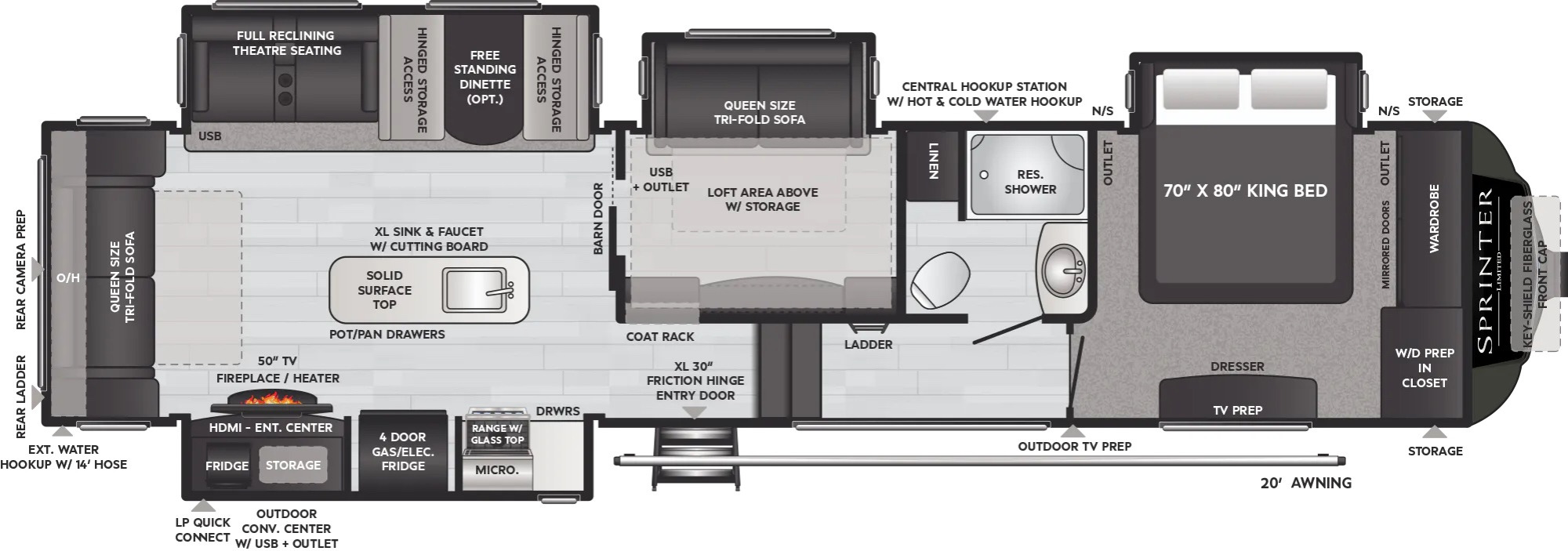 View Floor Plan for 2022 KEYSTONE SPRINTER LIMITED 3570LFT