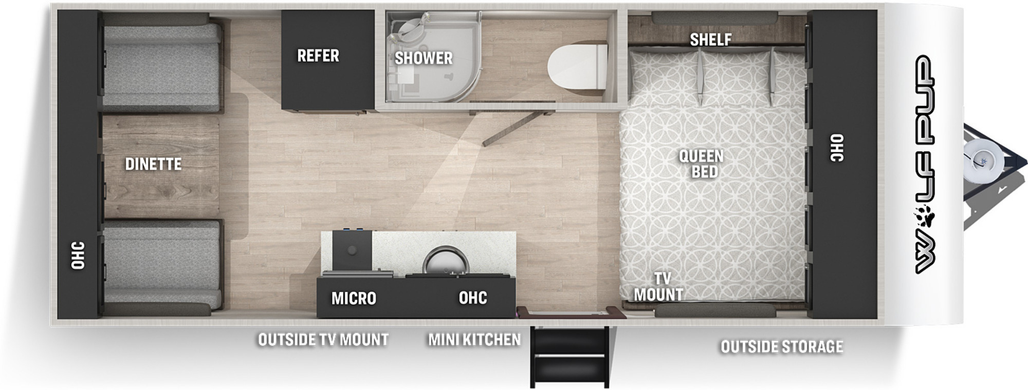 View Floor Plan for 2022 FOREST RIVER WOLF PUP 16TS