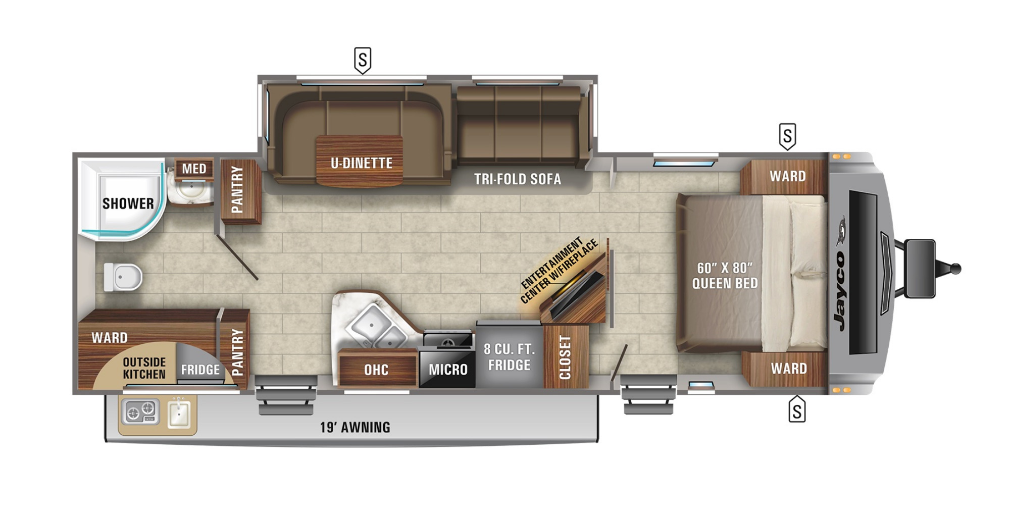 View Floor Plan for 2022 JAYCO WHITE HAWK 27RB