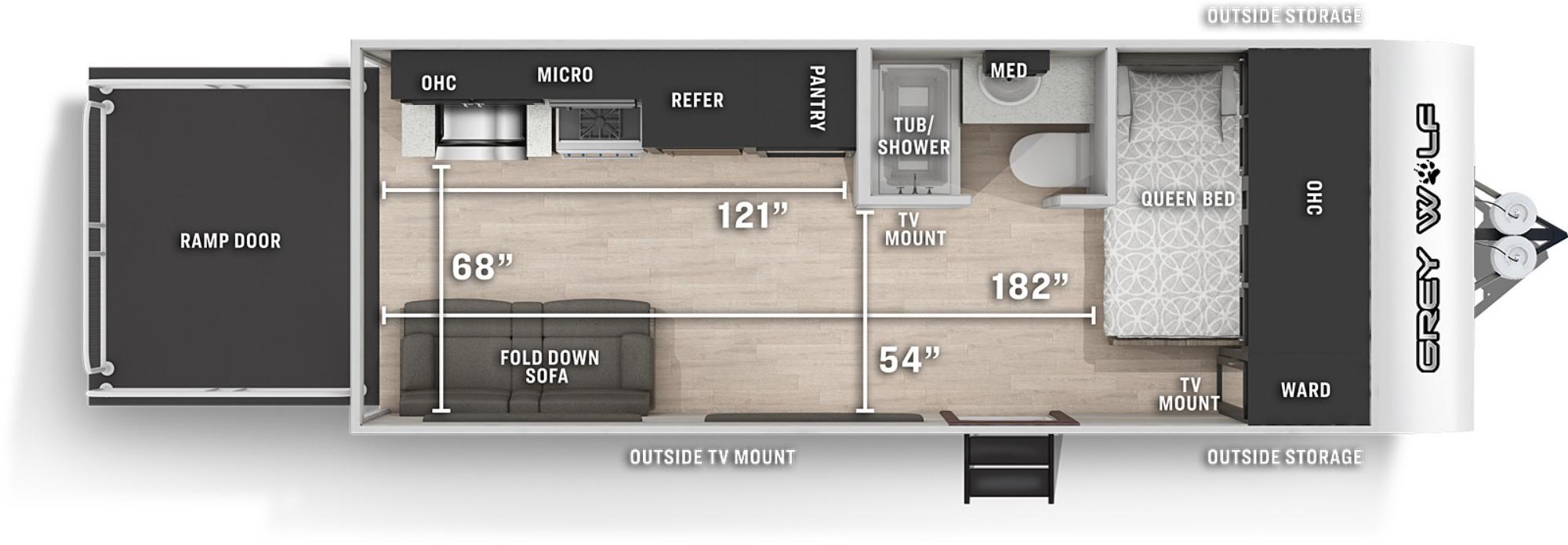 View Floor Plan for 2022 FOREST RIVER GREY WOLF 18RR