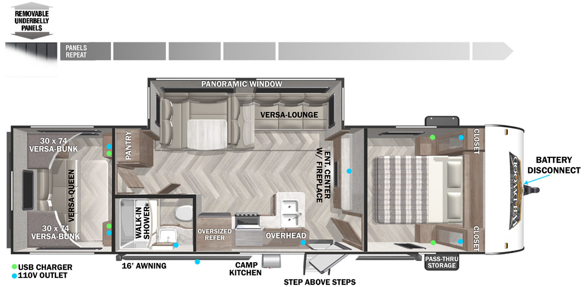 View Floor Plan for 2022 FOREST RIVER WILDWOOD X-LITE 28VBXL