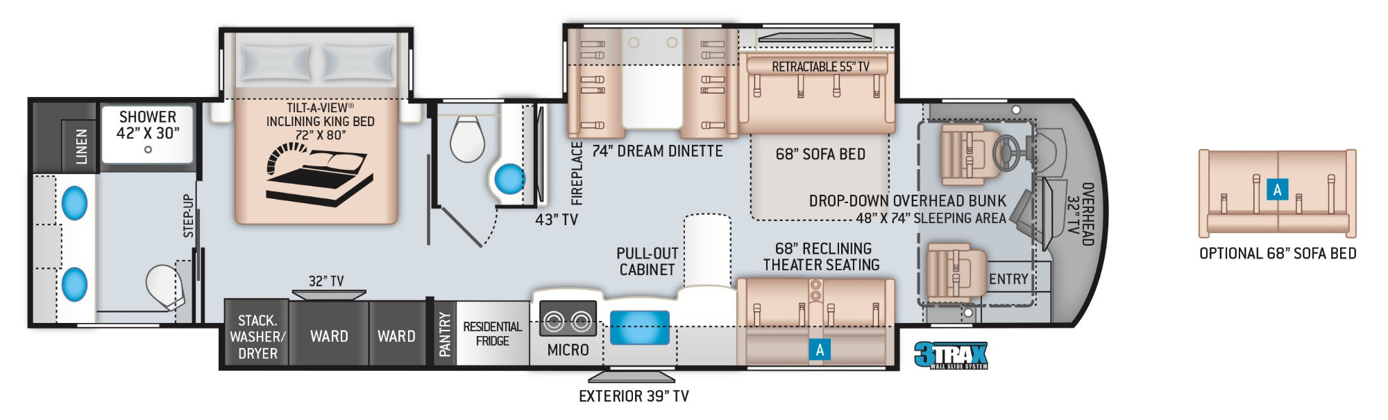 View Floor Plan for 2022 THOR ARIA 3901
