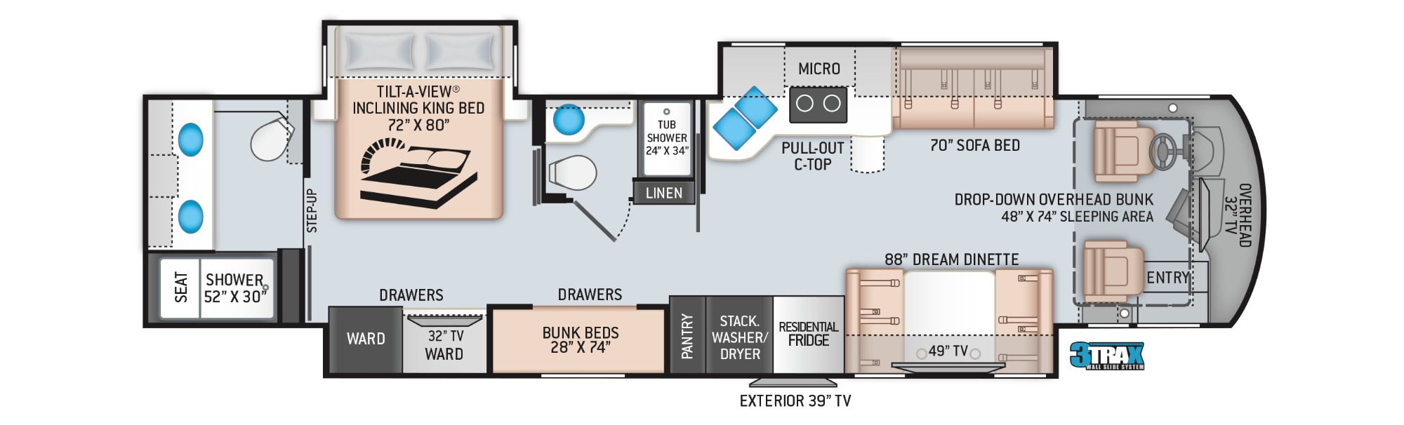 View Floor Plan for 2022 THOR ARIA 4000