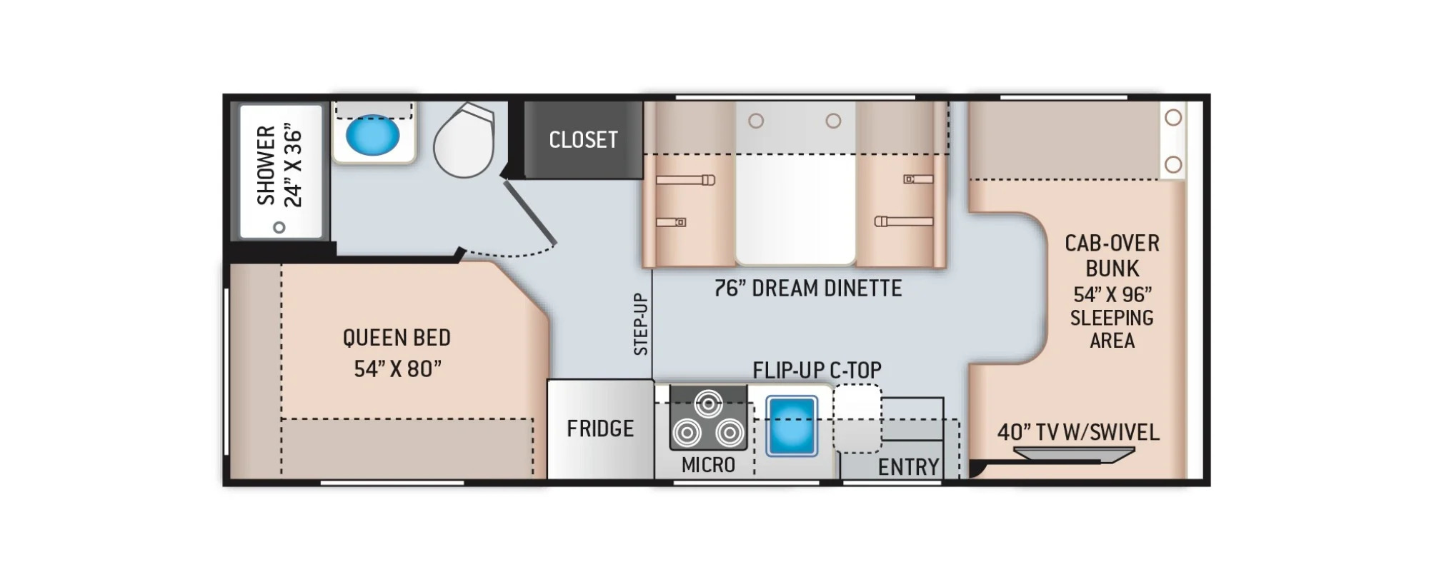 View Floor Plan for 2022 THOR FREEDOM ELITE 22HE