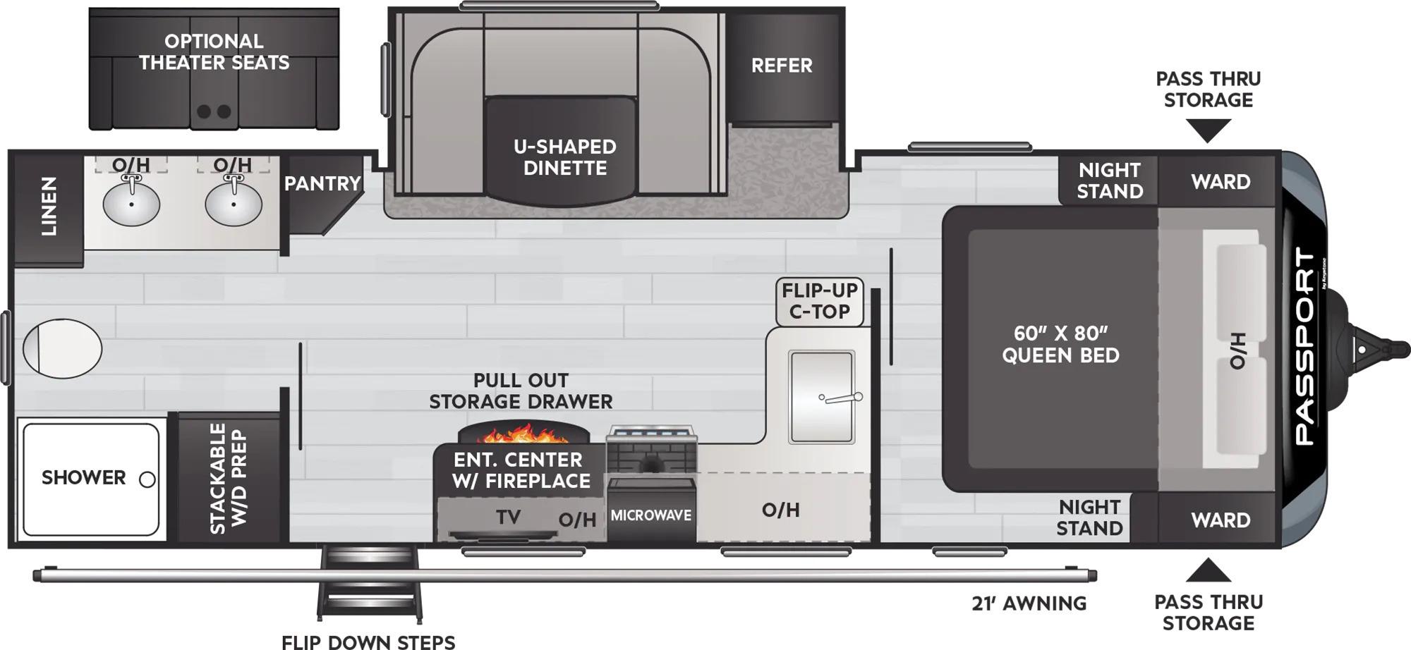 View Floor Plan for 2022 KEYSTONE PASSPORT 2400RB