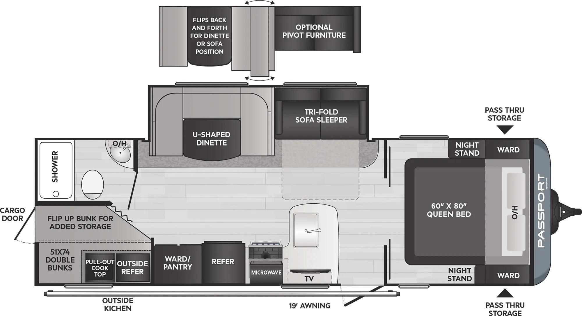 View Floor Plan for 2022 KEYSTONE PASSPORT 268BHWE
